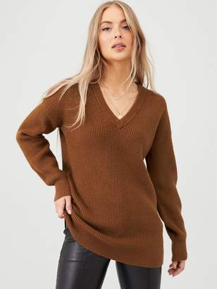 Very V-neck Fisherman Rib Slouch Jumper - Tan