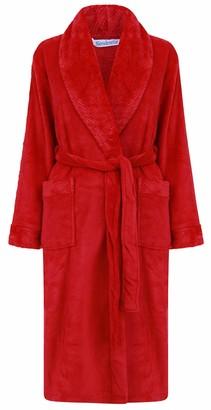 "Slenderella Ladies 46""/116cm Soft Red Coral Fleece Plain Self Tie Belt Shawl Collared Bath Robe Dressing Gown House Coat Large 16 18"