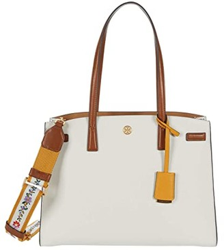 Tory Burch Walker Color-Block Satchel (New Ivory/Classic Cuoio) Handbags
