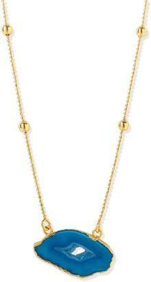 Yaa Yaa London Gold Vermeil Blue Agate Crystal Gemstone Necklace