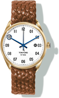 Tom Ford Timepieces N.002 40mm Round Braided Leather Watch