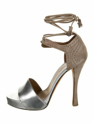 Hermes Leather Colorblock Pattern Sandals Silver