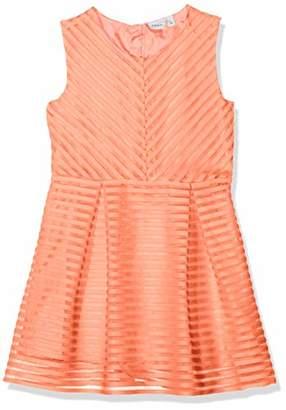 Name It Girl's Nkfhollyhock Sl Dress, Orange Fusion Coral