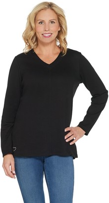 Quacker Factory Essentials Long-Sleeve V-Neck Knit Tunic