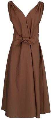 Brunello Cucinelli Cinnamon Monilli Shoulder Detail Belted Dress
