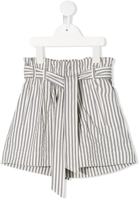 BRUNELLO CUCINELLI KIDS Striped Paperbag Shorts