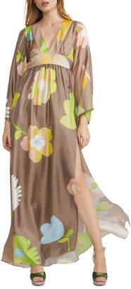 Cynthia Rowley Yvonne Pop Floral Silk Kimono Maxi Dress