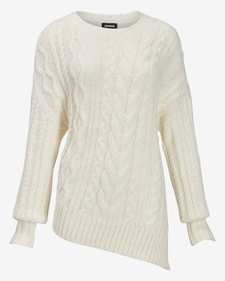 Express Asymmetrical Hem Cable Knit Sweater