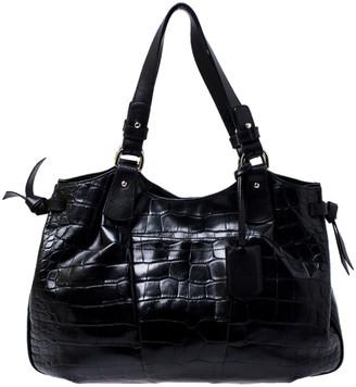 Furla Black Croc Embossed Leather Shoulder Bag