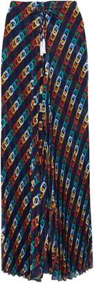 Emma Pake Pleated Printed Voile Wide-leg Pants