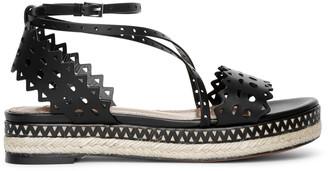 Alaia Laser cut leather espadrille platform sandals