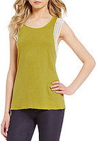 Sigrid Olsen Signature Lace Trim Sleeveless Knit Tank