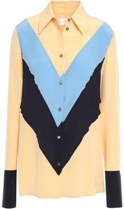 Victoria Victoria Beckham Victoria, Victoria Beckham Color-block Silk Crepe De Chine Shirt