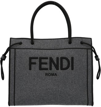 Fendi Logo Embroidered Tote Bag