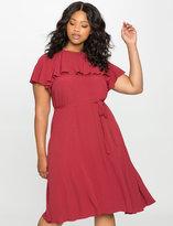 ELOQUII Plus Size Ruffle Sleeve Midi Dress