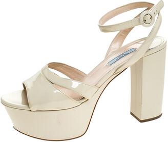 Prada Cream Patent Leather Ankle Strap Block Heel Platform Sandals Size 40.5