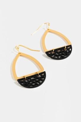 francesca's Liana Leather Teardrop Earrings - Black