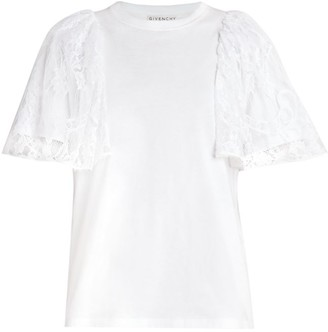 Givenchy Lace Puff-Sleeve T-Shirt