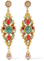 Ben-Amun Gold-Tone Crystal Stone And Faux Pearl Earrings