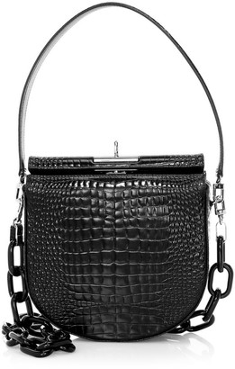 Gu De Small Demilune Croc-Embossed Leather Crossbody Bag