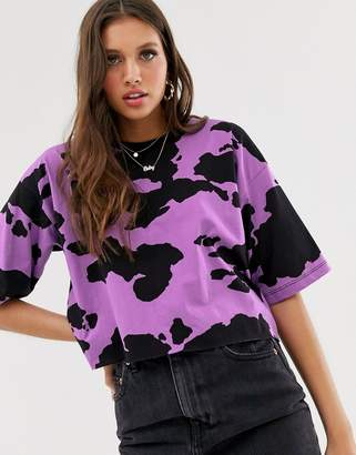 Asos Design DESIGN cropped boxy t-shirt in lilac cow print-Purple