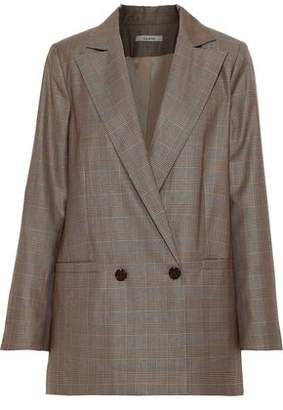 Ganni Merkel Double-breasted Prince Of Wales Checked Silk And Wool-blend Blazer