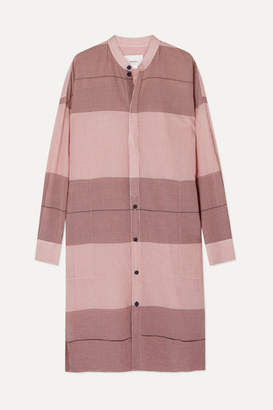 Bassike Net Sustain Checked Cotton-gauze Tunic - Pink