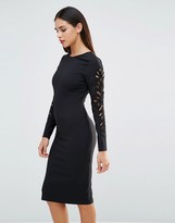 Forever Unique Lavette Bodycon Dress With Cut Out Embellished Sleeves
