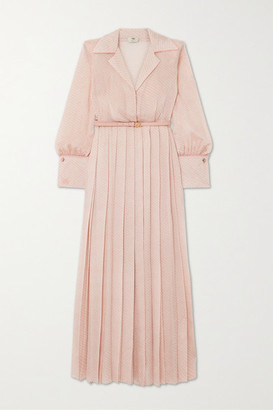 Fendi Belted Pleated Silk-blend Cloque Maxi Dress - Pink