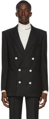 Balmain Black Wool Twill Double-Breasted Blazer