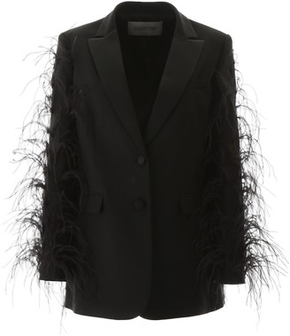 Valentino Feathered Sleeve Blazer