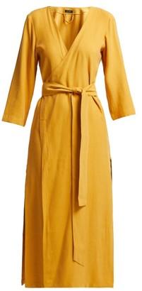 Haight Heart V-neck Wrap Crepe Midi Dress - Dark Yellow
