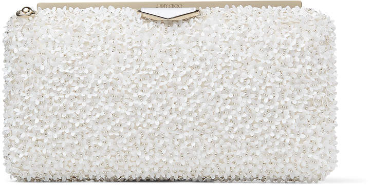Jimmy Choo ELLIPSE Latte Suede Clutch Bag with with Flower Sequin Embroidery