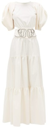 Johanna Ortiz Window To Love Tiered Cotton-blend Maxi Dress - Cream