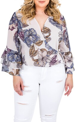 Standards & Practices Miley Bell Sleeve Floral Wrap Top