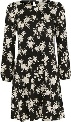 Wallis PETITE Black Floral Swing Dress