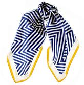 Black Navy and White Geometric Italian Silk Square Scarf