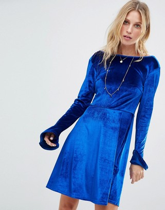 Asos Design Velvet Scoop Back Skater Dress with Frill Cuffs-Blue