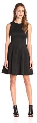 London Times Women's Sleeveless Laser Cut Box Scuba Fit and Flare Dress