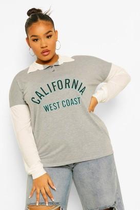 boohoo Plus California Slogan Colour Block Rugby T-Shirt