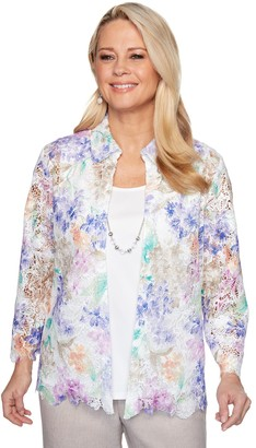 Alfred Dunner Women's Floral Lace Mock-Layer Top