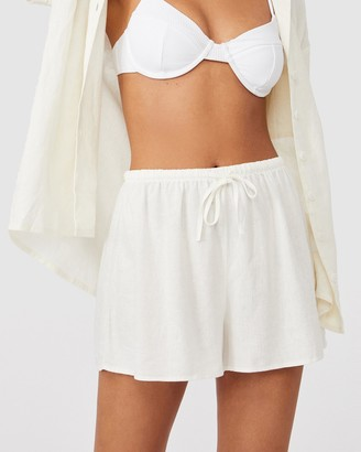 Cotton On Women's White Shorts - Cali Pull On Shorts - Size 6 at The Iconic