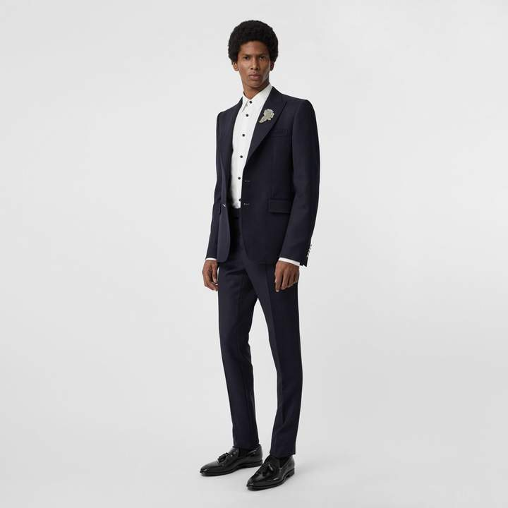 Burberry Slim Fit Wool Twill Tailored Trousers