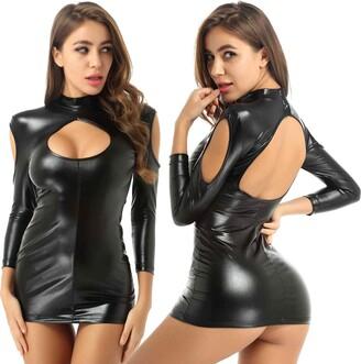 Agoky Women's Long Sleeve Faux Leather Cut Out Bodycon Mini Club Dress Party Pencil Dresses Black L/XL