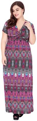 YiJee Womens Vintage Printed Dress V-Neck Short Sleeve Dresses Holiday Beachwear Plus Size Purple 2XL