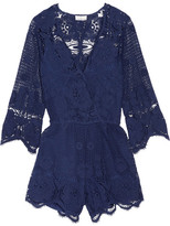 Miguelina Greta Crocheted Cotton-lace Playsuit - Storm blue