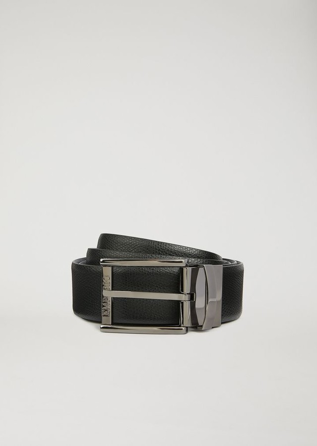 Emporio Armani Boarded Printed Leather And Smooth Leather Reversible Belt