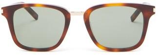 Saint Laurent Metal-bridge Square Acetate Sunglasses - Mens - Grey