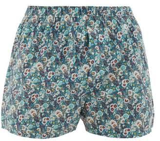 Sunspel Liberty Print Cotton Boxer Shorts - Mens - Blue Multi