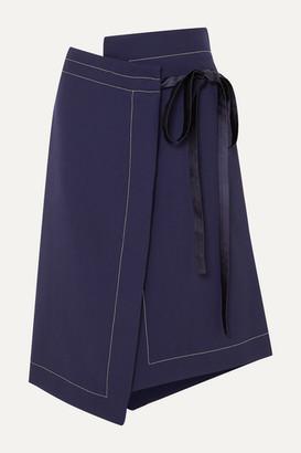 Marni Asymmetric Wool Wrap Skirt - Navy